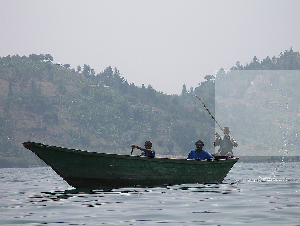A boat on lake Kivu along the border with the Democratic Republic of Congo.