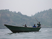 A boat on lake Kivu along the border with the Democratic Republic of Congo.