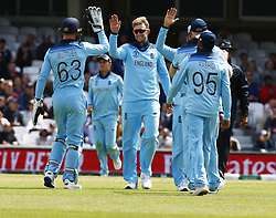 May 27, 2019 - London, England, United Kingdom - Joe Root of England celebrate the catch of \aj19\ by Ben Stokes of England.during ICC Cricket World Cup - Warm - Up between England and Afghanistan at the Oval Stadium , London,  on 27 May 2019. (Credit Image: © Action Foto Sport/NurPhoto via ZUMA Press)