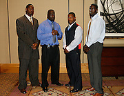 (L-R) Hampton University's Marcus Dixon, Justin Durant, Alonzo Coleman and Princeton Sheppard pose during the 2006 MEAC-SWAC Kickoff Luncheon at the Sheraton Birmingham Hotel in Birmingham, Alabama..  September 01, 2006  (Photo by Mark W. Sutton)