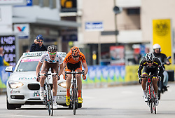 16.04.2013, Hauptplatz, Lienz, AUT, Giro del Trentino, Etappe 1, Lienz nach Lienz, im Bild v.l. Maxime Bouet (Ag2R La Mondiale, 1. Platz), Josef Cerny (Ccc Polsat Polkowice, 2. Platz), Galindmichael Rodriguez (Colombia, 3. Platz) // during stage 1, Lienz to Lienz of the Giro del Trentino at the Hauptplatz, Lienz, Austria on 2013/04/16. EXPA Pictures © 2013, PhotoCredit: EXPA/ Johann Groder