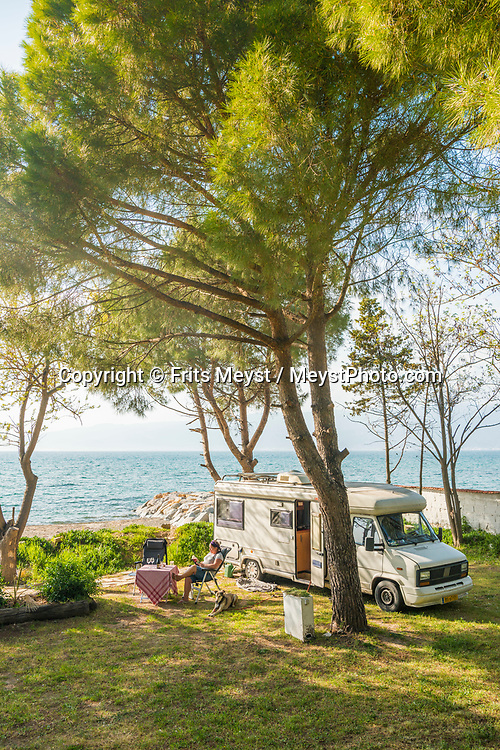 Oren, Burhaniye, Turkey, April 2017.  Altin Camp is a well kept camping campground. With its many small bays along the rugged  mediterranean coast, and a great safety standard, Turkey is well suited for camper tourism. Photo by Frits Meyst / MeystPhoto.com
