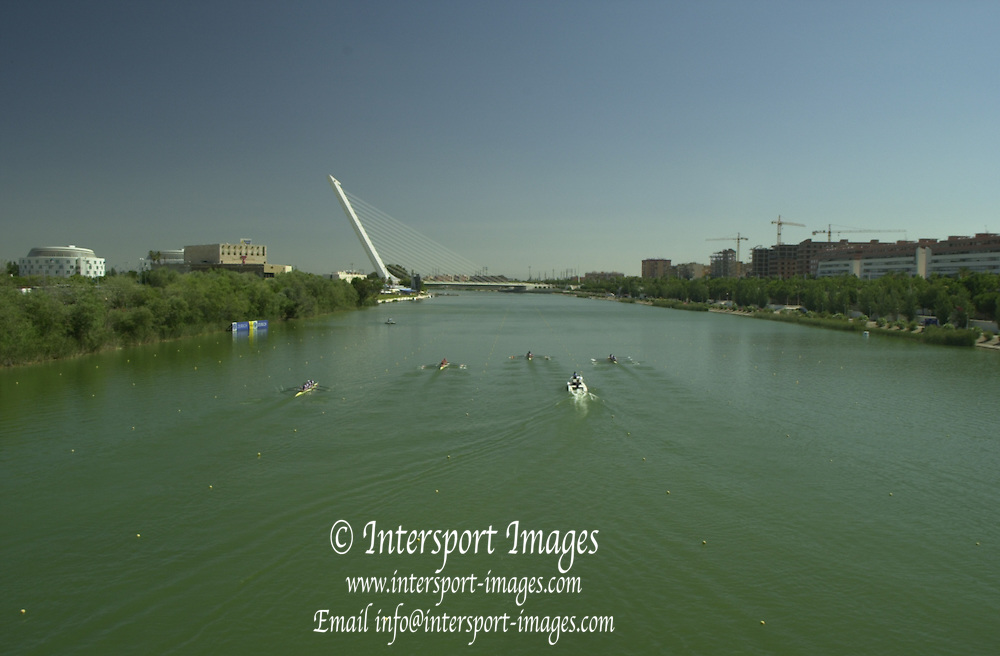 Peter Spurrier Sports  Photo.email pictures@rowingpics.com.Tel 44 (0) 7973 819 551.Tel/Fax 44 (0) 1784 440 772..Looking over the course view 3.. Rowing Course: Rio Guadalquiver Rowing Course, Seville, SPAIN 20010515 FISA World Cup, Seville, SPAIN