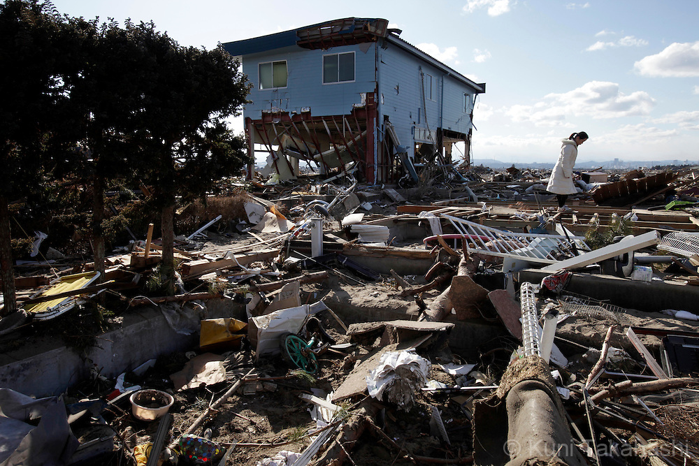 Debris scattered in Arahama in Sendai, Miyagi, Japan on April 4, 2011 after massive earthquake and tsunami hit northern Japan. More than 20,000 were killed by the disaster on March 11.<br /> Photo by Kuni Takahashi
