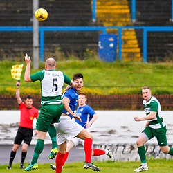 Cowdenbeath FC v Buckie Thistle FC, Betfred Cup, Saturday 15 July 2017. Jillian McFarlane | sportPix.org.uk<br /> <br /> <br /> Cowdenbeath FC v Buckie Thistle FC, Betfred Cup, Saturday 15 July 2017. Jillian McFarlane | sportPix.org.uk<br /> <br /> COWDENBEATH #9 CAMERON MUIRHEAD AND BUCKIE THISTLE FC #5 LEWIS MCKINNON FIGHT FOR THE BALL