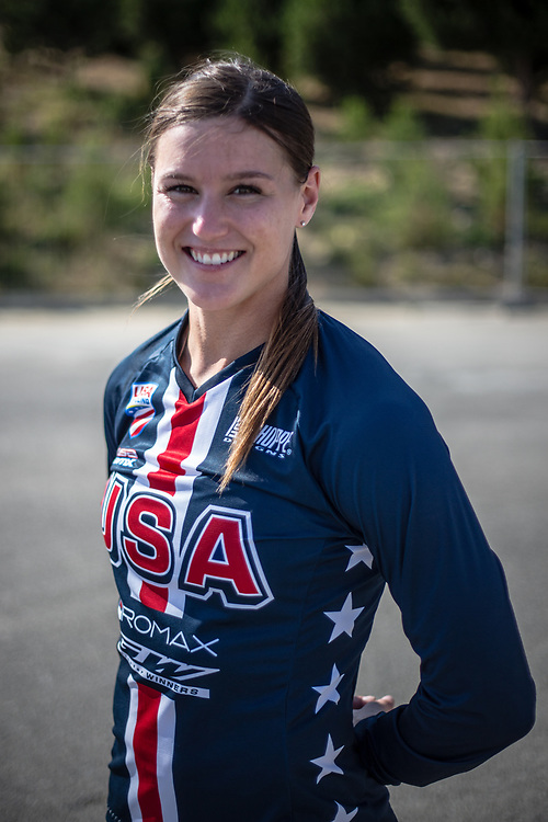 Women Elite #1 (WILLOUGHBY Alise) USA at the 2018 UCI BMX World Championships in Baku, Azerbaijan.
