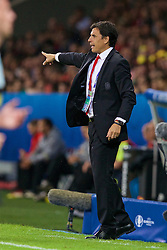 LILLE, FRANCE - Friday, July 1, 2016: Wales manager Chris Coleman issues instructions during the UEFA Euro 2016 Championship Quarter-Final match against Belgium at the Stade Pierre Mauroy. (Pic by Paul Greenwood/Propaganda)