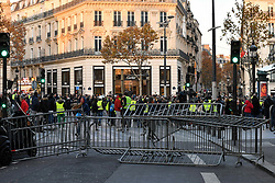 November 17, 2018 - Paris, France - Protesters 'Yellow vests' make barricade to block the streets of Paris to answer the call on social networks to howl there fed up of the increase of fuel taxes - Paris, Novenber 17, 2018  (Credit Image: © Daniel Pier/NurPhoto via ZUMA Press)