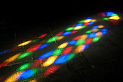 Mauritius. Church of the Holy Spirit. Floor with colour from stained glass window.