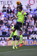 Defensive header by Brighton and Hove Albion defender Uwe Hunemeier during the Sky Bet Championship match between Reading and Brighton and Hove Albion at the Madejski Stadium, Reading, England on 31 October 2015. Photo by Mark Davies.