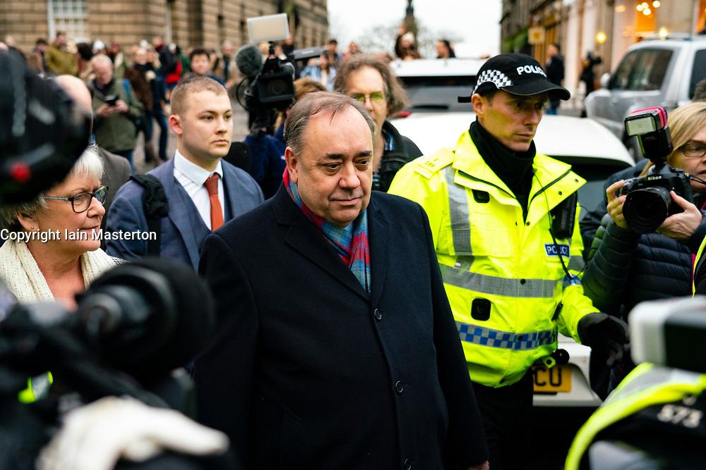 Edinburgh, Scotland, UK. 22 January, 2020. Alex Salmond leaves the High Court in Edinburgh after a preliminary trial hearing. Iain Masterton/Alamy Live News.