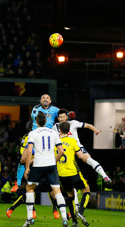 Heurelho Gomes punches the ball away during Watford v Tottenham, Barclays Premier League, Monday 28th December 2015, Vicarage Road, Watford