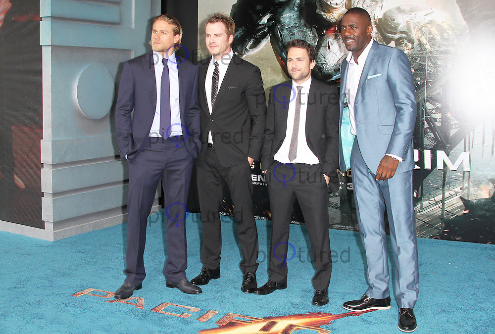 Charlie Hunnam; Robert Kazinsky; Charlie Day; Idris Elba, Pacific Rim European Film Premiere, BFI IMAX Waterloo, London UK, 04 July 2013, (Photo by Richard Goldschmidt)