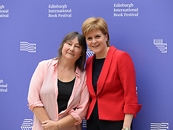 Pictured: First Minister Nicola Sturgeon with Scottish author, playwright, academic and journalist Ali Smith at the Book Festival.<br /> <br /> © Dave Johnston / EEm