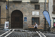 Anna, a pilgrim from the United States, sits outside Casa Ibarrola Albergue, where she overnighted in Pamplona, Spain. (June 1, 2018)<br /> <br /> DAY 5: STAYED IN PAMPLONA