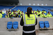 Steward briefing before the Sky Bet Championship match between Brighton and Hove Albion and Birmingham City at the American Express Community Stadium, Brighton and Hove, England on 28 November 2015. Photo by Phil Duncan.
