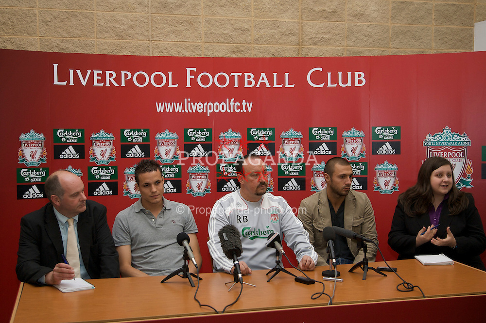 LIVERPOOL, ENGLAND - Thursday, July 10, 2008: Liverpool's two new signings Andrea Dossena and Philipp Degen with manager Rafael Benitez at the club's Melwood Training Ground. Dossena signed from Italian club Udinese and Degen from German side Borussia Dortmund. (Photo by David Rawcliffe/Propaganda)