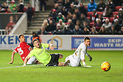 Brighton striker, Tomer Hemed (10) scores his teams 3rd goal during the Sky Bet Championship match between Bristol City and Brighton and Hove Albion at Ashton Gate, Bristol, England on 23 February 2016. Photo by Shane Healey.