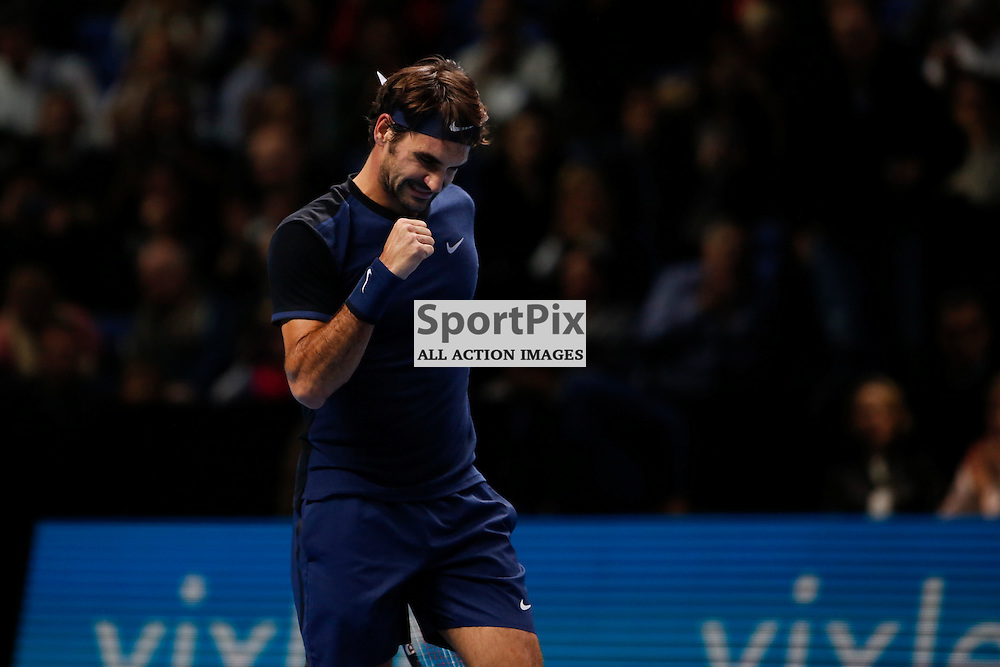 Roger Federer's wins the semi-final match between Roger Federer and Stan Wawrinka at the ATP World Tour Finals 2015 at the O2 Arena, London.  on November 21, 2015 in London, England. (Credit: SAM TODD | SportPix.org.uk)