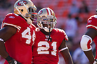 20 September 2010: Running back (21) Frank Gore speaks of the San Francisco 49ers speaks to fullback (44) Moran Norris before the New Orleans Saints 25-22 victory over the 49ers at Candlestick Park in San Francisco, CA.