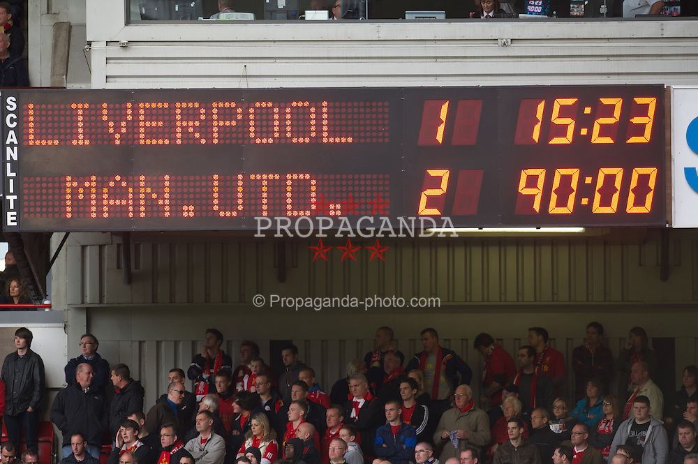 LIVERPOOL, ENGLAND - Sunday, September 23, 2012: The scoreboard records Liverpool 2-1 defeat by Manchester United during the Premiership match at Anfield. (Pic by David Rawcliffe/Propaganda)