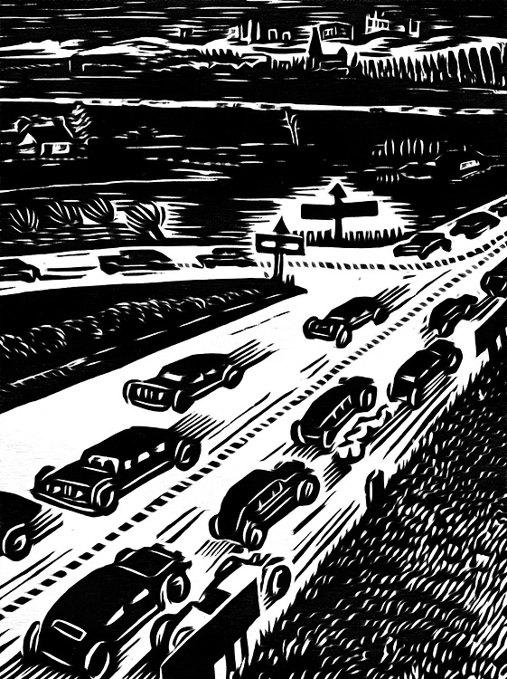 A black / white drawing of an intersection where cars pick a direction