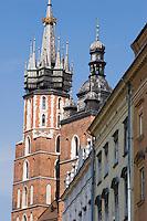 Rynek Glowny Building Facades and St Mary's Basilica in Krakow Poland