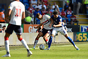 Dael Fry (6) of Middlesbrough battles for possession with Callum Paterson (13) of Cardiff City during the EFL Sky Bet Championship match between Cardiff City and Middlesbrough at the Cardiff City Stadium, Cardiff, Wales on 21 September 2019.