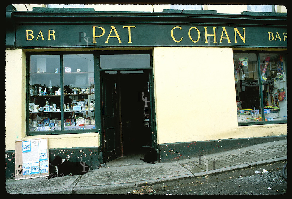 Dog and cat rest outside Pat Cohan's Bar, used in filming of 'The Quiet Man' in 1951; Cong. Ireland