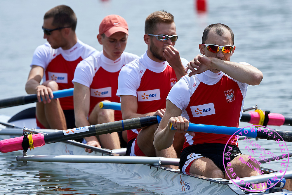 (stroke) Milosz Bernatajtys and (3) Rafal Serwiak and (2) Mateusz Drab and (bow) Dawid Kaminski all from Poland compete at Lightweight Man&rsquo;s Four (LM4-)  during first day the 2015 European Rowing Championships on Malta Lake on May 29, 2015 in Poznan, Poland<br /> Poland, Poznan, May 29, 2015<br /> <br /> Picture also available in RAW (NEF) or TIFF format on special request.<br /> <br /> For editorial use only. Any commercial or promotional use requires permission.<br /> <br /> Mandatory credit:<br /> Photo by &copy; Adam Nurkiewicz / Mediasport