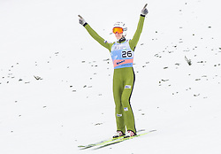 Winner Jurij Tepes of Slovenia celebrates during the Flying Hill Individual Event at 4th day of FIS Ski Jumping World Cup Finals Planica 2013, on March 24, 2013, in Planica, Slovenia. (Photo by Vid Ponikvar / Sportida.com)