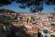 Looking south-east, an aerial panorama of Lisbon from Miradouro da Graca.