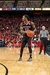 North Carolina State guard Anthony Barber. <br /> <br /> The University of Louisville hosted the North Carolina State, Saturday, Feb. 14, 2015 at the Yum Center in Louisville. NC State won 74-65.<br /> <br /> Photo by Jonathan Palmer