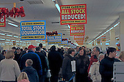 Crowds inside Woolworths stors on day of closure, Ipswich, Suffolk, England