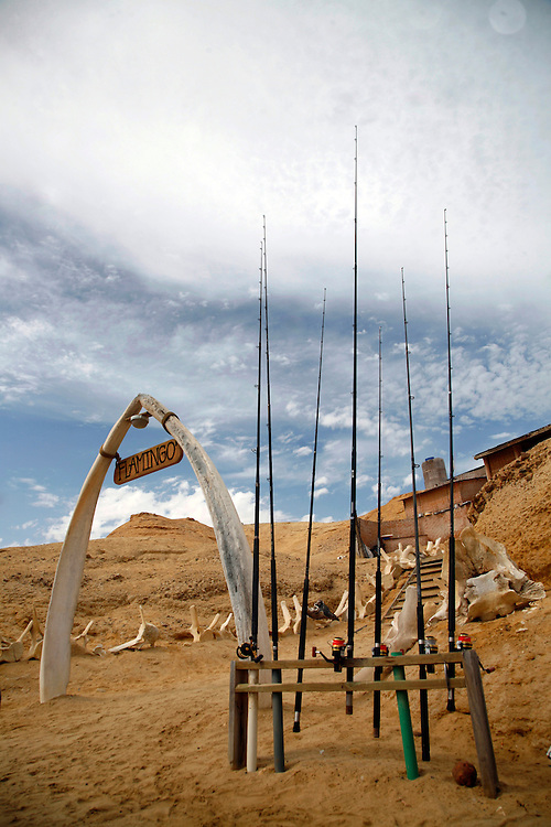 Angola, Namibe Province, Iona National Park. Flamingo lodge Fishing camp in the desert on the Atlantic coast. Fishing rods and whale bones form the entrance.<br /> <br /> Photo: &copy; Zute &amp; Demelza Lightfoot