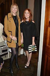 Left to right, JADE PARFITT and ANGELA SCANLON at the Creme de la Mer Blue Marine Foundation Dinner held at The Arts Club, 40 Dover Street, London on 23rd June 2015.