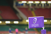 A corner flag before the European Challenge Cup match between Ospreys and Stade Francais at Principality Stadium, Cardiff, Wales on 2 April 2017. Photo by Andrew Lewis.