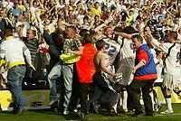 Photo: Aidan Ellis.<br /> Leeds United v Plymouth Argyle. Coca Cola Championship. 07/04/2007.<br /> Leeds Lubomir Michalik is mobbed after scoring the winner