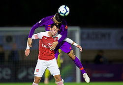 LONDON, ENGLAND - Friday, August 17, 2018: Liverpool's Isaac Christie-Davies (top) and Arsenal's Robbie Burton during the Under-23 FA Premier League 2 Division 1 match between Arsenal FC and Liverpool FC at Meadow Park. (Pic by David Rawcliffe/Propaganda)
