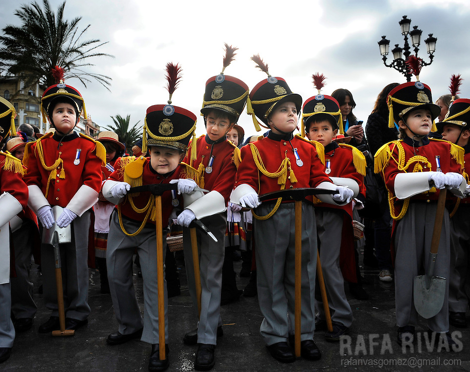Some childen take part in San Sebastian's Tamborrada. Some thousands soldiers-clad children march and play drums, on January 20, 2010, during a parade to celebrate San Sebastian's day, the northern Spanish Basque city of San Sebastian's main feast. PHOTO / RAFA RIVAS
