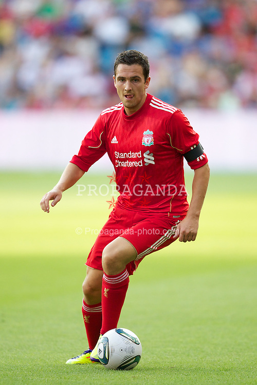OSLO, NORWAY - Monday, August 1, 2011: Liverpool's Stewart Downing in action against Valerenga during a preseason friendly match at the Ulleval Stadion. (Photo by Vegard Grott/Propaganda)