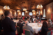 Guest asks question of the panelists at the Manhattan Chamber of Commerce Annual Economic Outlook Breakfast was held at the New York Athletic Club in New York on April 4, 2011. The breakfast was sponsored by Wells Fargo.