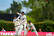 Steven Finn of Middlesex batting during the Specsavers County Champ Div 2 match between Middlesex County Cricket Club and Glamorgan County Cricket Club at Radlett Cricket Ground, Radlett, Herfordshire,United Kingdom on 17 June 2019.