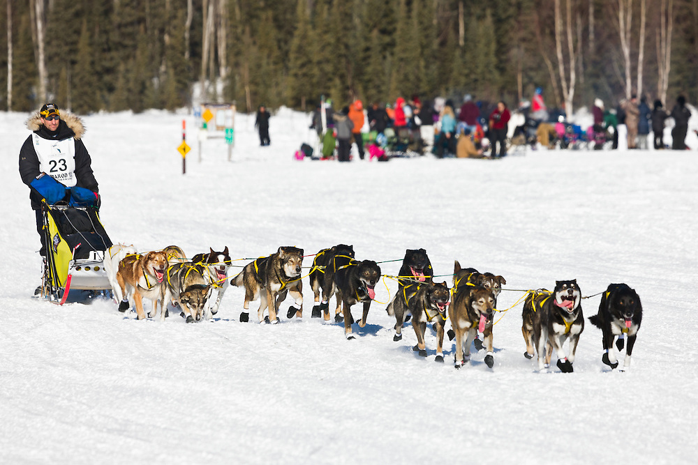 Musher Hans Gatt competing in the 39th Iditarod Trail Sled Dog Race on Long Lake after leaving the Willow Lake area at the restart in Southcentral Alaska.  Afternoon.