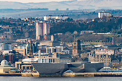 View over city of Dundee with new V&A Museum of Design in foreground  in Tayside, Scotland, United Kingdom