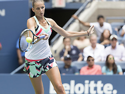 August 31, 2017 - New York, New York, United States - Karolina Pliskova of Czech Republic returns ball during match against Nicole Gibbs of USA at US Open Championships at Billie Jean King National Tennis Center  (Credit Image: © Lev Radin/Pacific Press via ZUMA Wire)