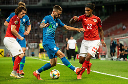 Petar Stojanović of Slovenia vs Valentino Lazaro of Austria during the 2020 UEFA European Championships group G qualifying match between Austria and Slovenia at Wörthersee Stadion on June 7, 2019 in Klagenfurt, Austria. Photo by Vid Ponikvar / Sportida