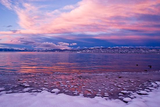 Winter Sunset on Kiva Beach, South Lake Tahoe, CA