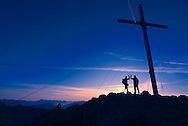 Serfaus, Tyrol, Austria, August 2009. Hikers climb the 3004m high Furgler mountain at dawn to celebrate sunrise on the summit. Ancient smuggler trails mark the border between Serfaus in Austria and Samnaun in Switserland. Photo by Frits Meyst/Adventure4ever.com