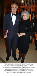 LORD & LADY YOUNG OF GRAFFHAM  at a reception in London on 29th April 2004.PTR 84